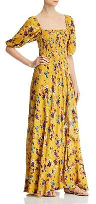 Band of Gypsies Madrid Smocked Floral-Print Maxi Dress