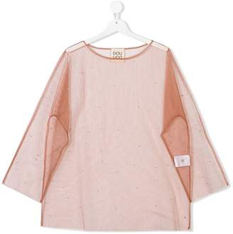 Douuod Kids Teen sheer embellished top
