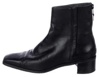 Stuart Weitzman Square-Toe Leather Ankle Boots