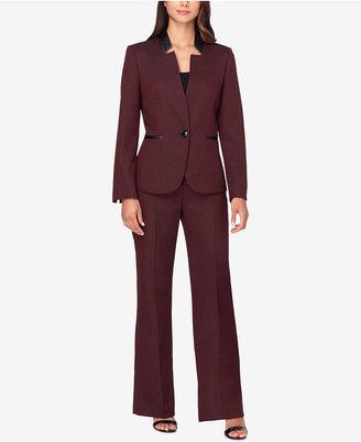 Tahari ASL Faux-Leather-Trim Herringbone Pantsuit $280 thestylecure.com