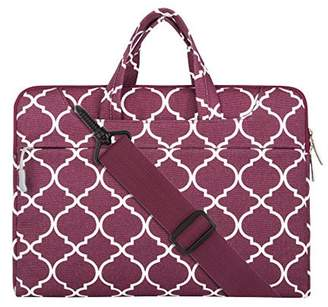 Mosiso Quatrefoil Style Canvas Fabric Laptop Sleeve Case Cover Bag with Shoulder Strap for 15-15.6 Inch MacBook Pro, Notebook Computer, Wine Red