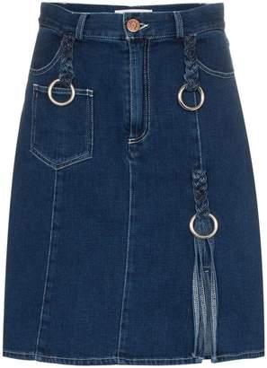 See by Chloe braided buckle knee-length denim skirt