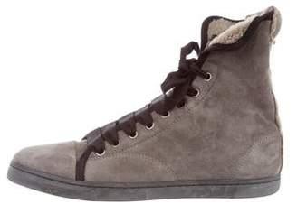 Lanvin Shearling Suede Sneakers