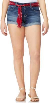 Juniors' Wallflower Legendary Bandanna Belted Mid-Rise Jean Shortie Shorts