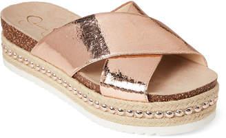 Jessica Simpson Rose Gold Shanny Patent Platform Slide Sandals