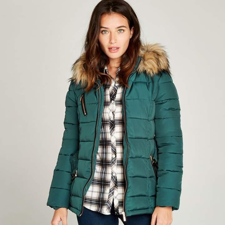 Green Removable Fur Hood Puffer Jacket