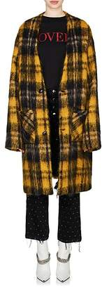 Amiri Women's Plaid Mohair-Blend Cardigan Coat