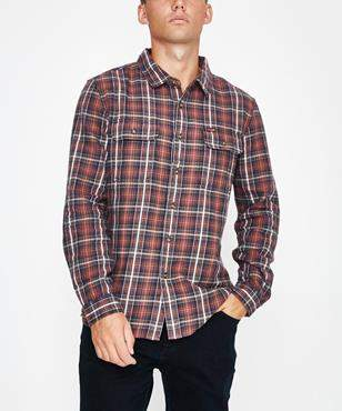 Wrangler Lock In Shirt Red Check Red