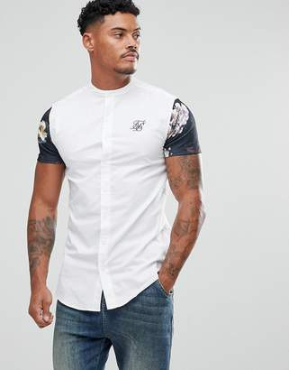 SikSilk Muscle Shirt In White With Floral Sleeves