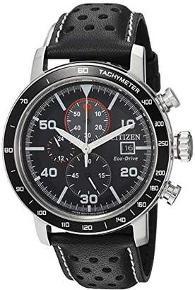 Citizen Men's 'Eco-Drive' Quartz Stainless Steel and Leather Casual Watch