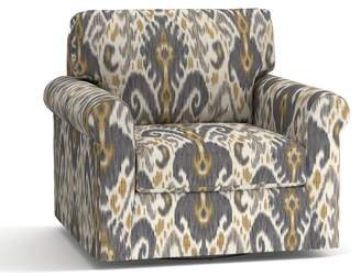 Pottery Barn York Roll Arm Upholstered Swivel Armchair - Print and Pattern