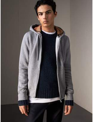 Burberry Hooded Cotton Jersey Top, Grey