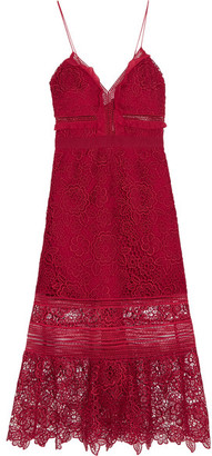 Self-Portrait - Ruffled Georgette-trimmed Guipure Lace Dress - Red $475 thestylecure.com