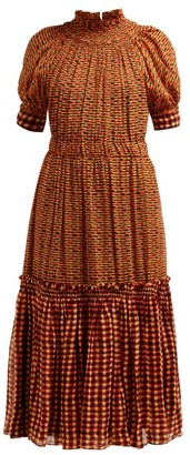 Proenza Schouler Square Print Gathered Silk Georgette Midi Dress - Womens - Orange Multi