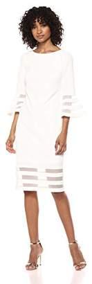 Calvin Klein Women's Bell Sleeve Sheath with Sheer Inserts Dress