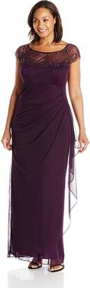Xscape Evenings Women's Plus-Size Side Rouched Gown with Beaded Top