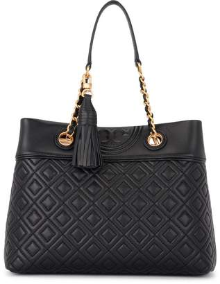 Tory Burch Fleming Small Tote Black Quilted Leather Shoulder Bag
