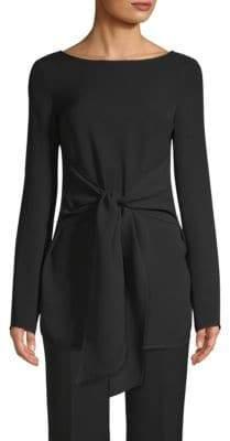 St. John Silk Long-Sleeve Tie Top
