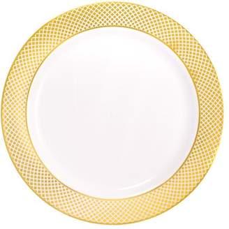"Kaya Collection - Disposable White with Gold Diamond Rim Plastic Round 7.5"" Salad/Dessert Plates (120 Plates)"