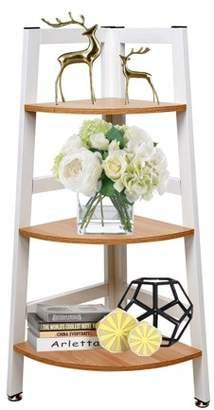 KARMAS PRODUCT 3-Tier Corner Shelf Storage Rack Ladder Bookshelf Display Shelves Plant Stand for Bathroom Kitchen Home Furniture, Wood Look and Metal Frame
