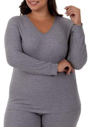 Fruit of the Loom Fit for Me by Women's and Women's Plus Size Waffle Thermal Underwear V-Neck Top