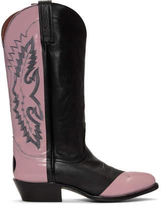 Helmut Lang Black and Pink Sarah Morris Edition Cowboy Boots