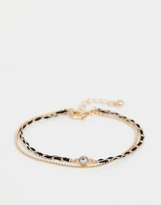 Asos DESIGN multirow bracelet with woven thread and delicate ball chain in gold
