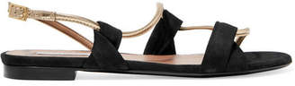 Tabitha Simmons Snakey Suede And Metallic Leather Sandals - Black