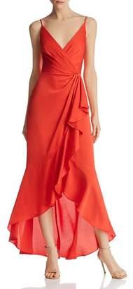 BCBGMAXAZRIA Satin Faux-Wrap Gown