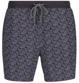 BOSS Hugo Paisley Quick Dry Swim Trunks Scorpionfish L Open Grey