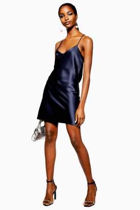 a9e175856363 Topshop Womens Satin Slip Mini Dress - Navy Blue