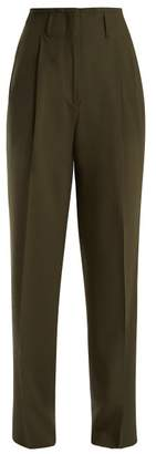 Etro Jade Wide Leg Wool Blend Trousers - Womens - Green