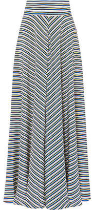Diane von Furstenberg Striped Silk Crepe De Chine Maxi Skirt - Blue