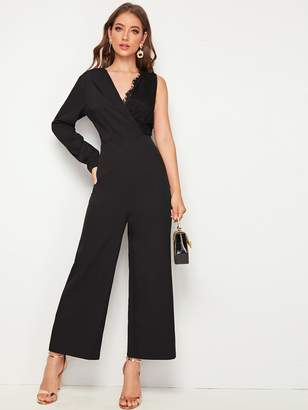 Shein Solid Lace Contrast One Shoulder Jumpsuit
