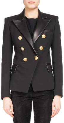 Balmain Double-Breasted Leather-Collar Blazer