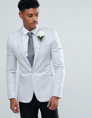 Asos Design Wedding Super Skinny Blazer In Ice Grey Cotton Sateen