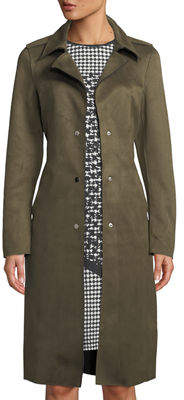Neiman Marcus Faux-Suede Single-Breasted Trench Jacket
