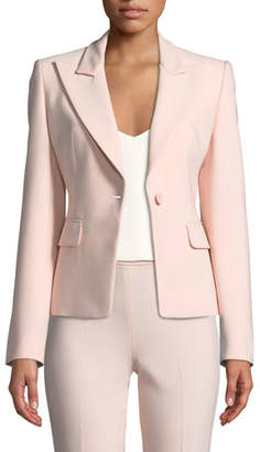 Michael Kors Peak-Lapels One-Button Pebble Crepe Blazer