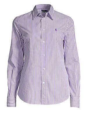 Polo Ralph Lauren Women's Andrew Kendal Slim-Fit Long Sleeve Striped Shirt