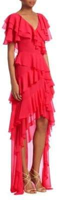 Badgley Mischka Ruffled High-Low Dress