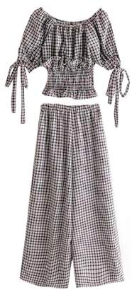 Goodnight Macaroon 'Rebecca' Gingham Off-the-Shoulder Top and Pants Set