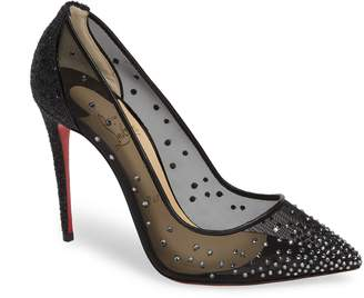 Christian Louboutin Follies Strass Embellished Mesh Pump
