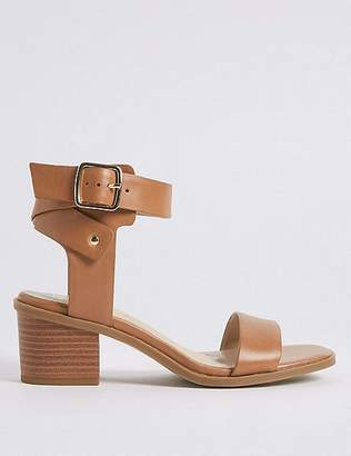 Marks and Spencer Wide Fit Leather Block Heel Sandals