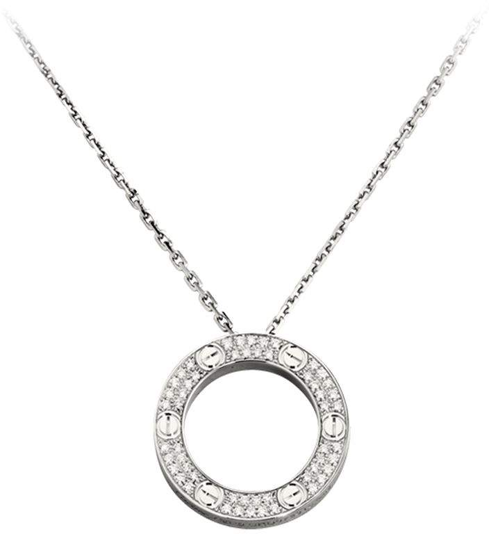 White Gold Love Diamond-Paved Necklace