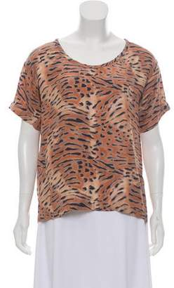 Gryphon Silk Animal Print Top