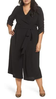 Eliza J Surplice Ruched Sleeve Wide Leg Jumpsuit