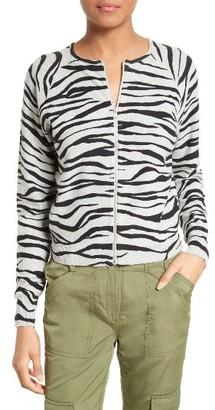 Women's Tracy Reese Zebra Stripe Cotton Zip Front Cardigan $228 thestylecure.com
