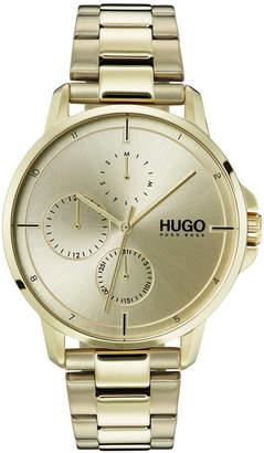 HUGO BOSS HUGO Men's #Focus Ice Gold Ion-Plated Stainless Steel Bracelet Watch 42mm