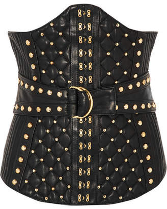 Balmain - Studded Quited Leather Corset - Black $2,090 thestylecure.com