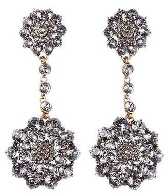Women's Oscar De La Renta 'Classic Jeweled' Swarovski Crystal Drop Earrings $390 thestylecure.com
